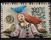 Ceramic Art Tile, Girl with three Birds