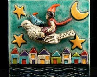 Ceramic Art Tile, Night Flight