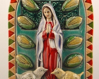 Ceramic Tile, Guadalupe Mary with Corn and Birds
