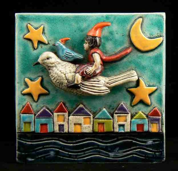 Ceramic art tile night flight by tilebyfire on etsy for Clay tile mural