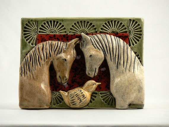 Reserved for Joyce, Ceramic Tile, Two Horses with a Bird