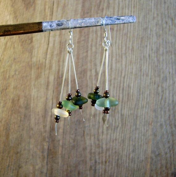 Forest triple dangle  sea glass earrings
