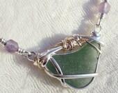 Sea Beach Glass Double Bail Necklace