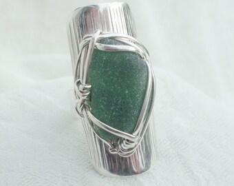 FIR GREEN  sea beach glass Statement ring