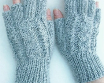 Alpaca finger less gloves with a cable pattern.  4 colors.  Light gray,   ,chocolate , black ,red. See pictures.