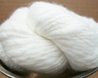 Hand spun organic natural snow white  100%  French angora yarn.My  bunny. On sale.