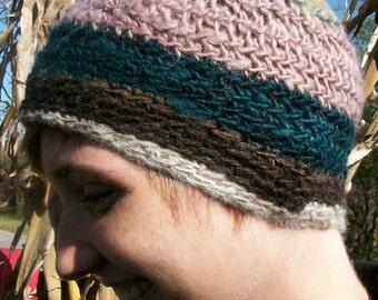 Handspun crochet mixed wool  hat, natural dye.  Ode to joy. Sale. Only 1  left.