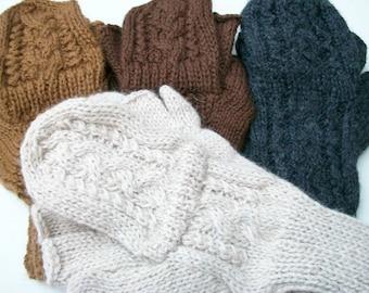 Alpaca glittens. Convertible mittens. 3  colors available.Tan,chocolate brown,   brown with black ( dark brown tweed).