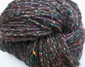 Hand spun art yarn /   Jacob sheep wool and sari silk / Jacob tweed /