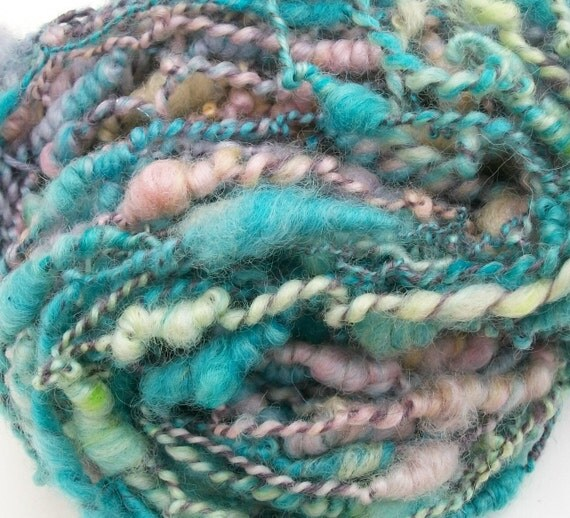 HANDSPUN ART CRAZY YARN /   EASTER CANDY / FREE SHIPPING IN USA