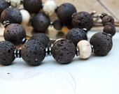 Brown earthy lava rock, with Lemon Chrysoprase stones, and hematite  19 inch necklace