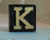 Upcycled, Vintage, wood anagram tile, pendant, Letter K, gift under 10