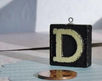 Upcycled, Vintage anagram tile, pendant,  letter D, gift under 10