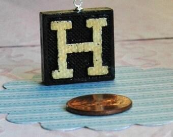Upcycled, Vintage, wood anagram tile, pendant, Letter H, gift under 10