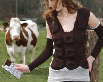OOAK  Wearable Art Bitten Swiss Chocolate Bar 3D sweater