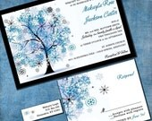 Winter Wonderland Custom Wedding Invitation Suite with Matching RSVP Cards and Address Labels on Luxurious Linen Cardstock