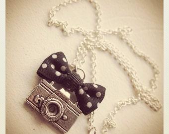 Retro Vintage Camera necklace with black bow