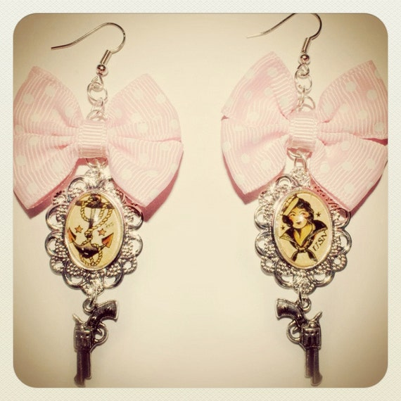 Sailor Jerry style pin-up bow earrings