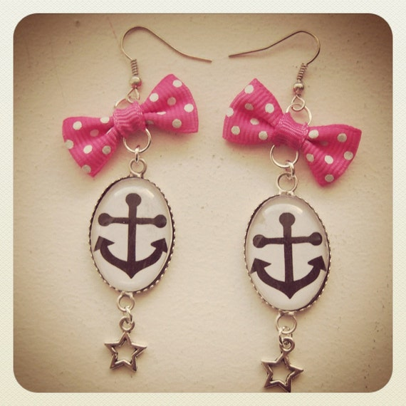 Old School Pin Up Anchor earrings, pink bow