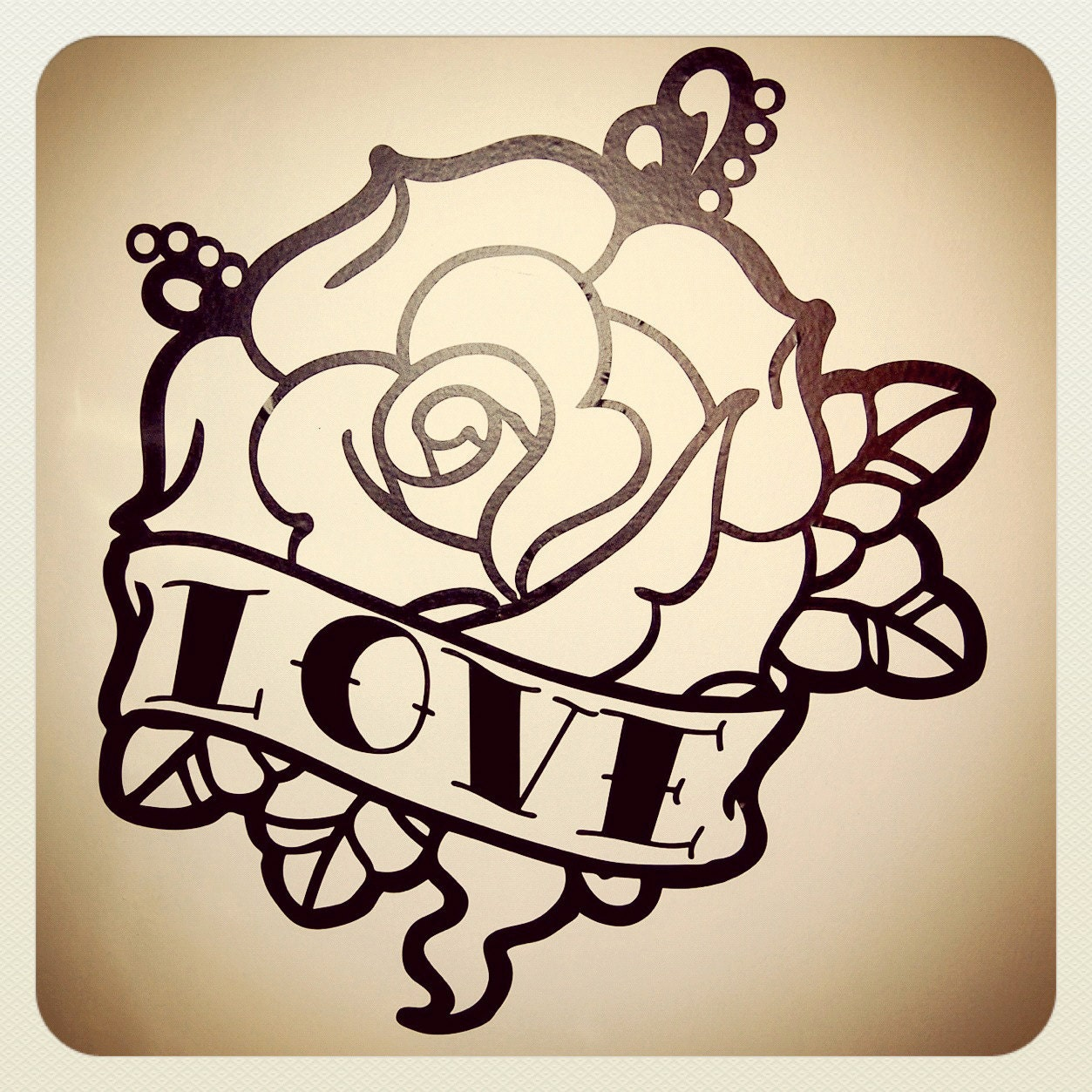 old school tattoo rose wall decal. Black Bedroom Furniture Sets. Home Design Ideas