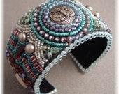 Snow Owl - Bead Embroidery Cuff Bracelet