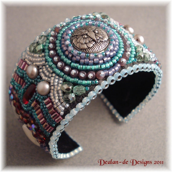 Items similar to snow owl bead embroidery cuff bracelet