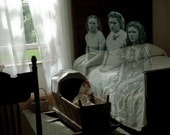 Nothing Ever Happens Here - 8 X 11 haunting photograph of three adolescent ghost girls looking frighteningly bored