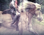 He Isn't Coming - 8 X 8 fine-art photographic collage print of a knight in shining armor