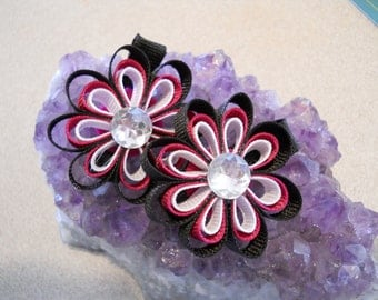 Black,Hot Pink and White Ribbon Flowers with a jewel center- set of two