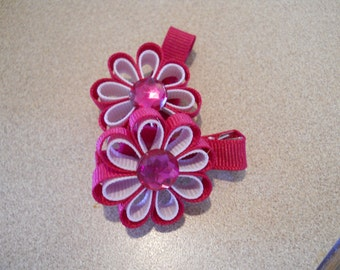 Hot Pink, with White Ribbon Flowers with a jewel center- set of two