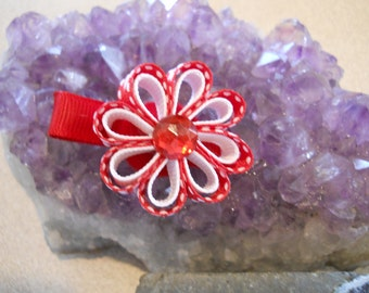 Red with white heart , with White Ribbon Flowers with a jewel center-