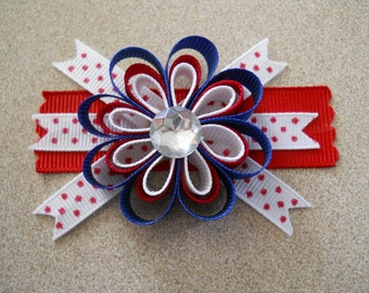 Red-White and Blue- America, 4th of July- Jeweled Center- flowers