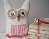 French Tea Towel Owl - Vintage and Upcycled Little Bookend Owl - Hoot