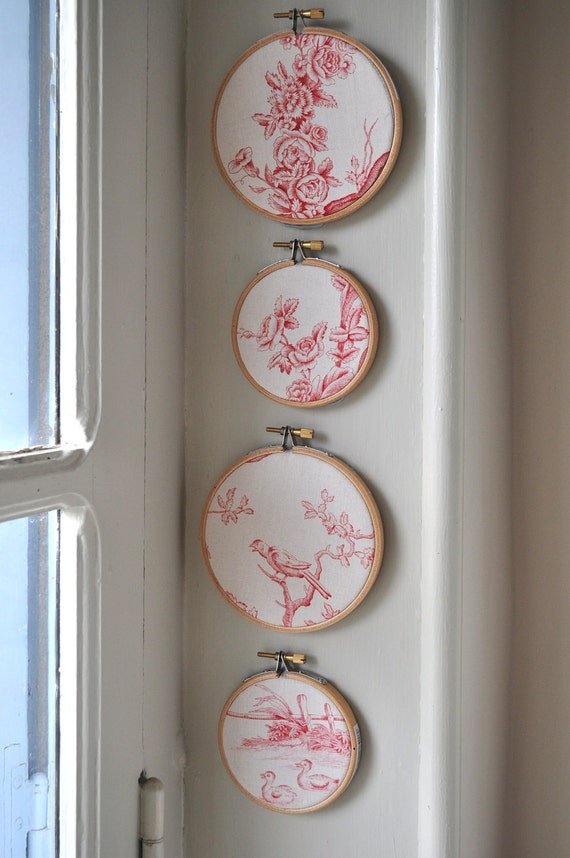 Vintage french toile de jouy set of 4 red and ivory - Chambre toile de jouy ...