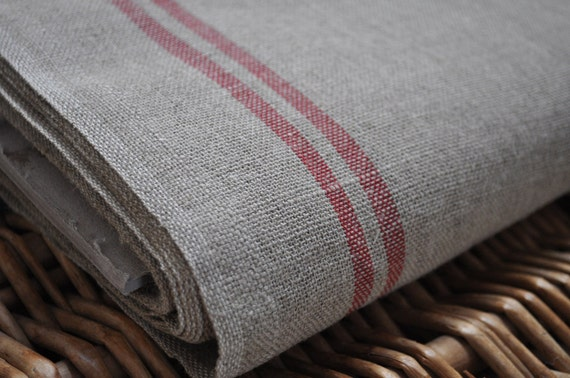French Linen - Red Stripe