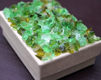 Lucky Gift Box 2 in x 3 in Brown Green Glass Textured Mosaic