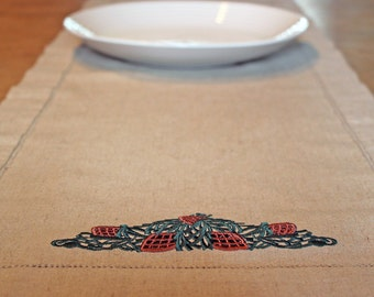Linen Holiday Table Runner with Pine Cones Cotton Brown Green Christmas