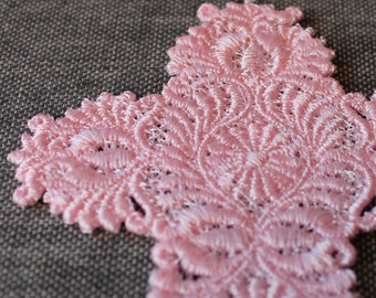 Ornate Cross Lace Bookmark Pink Embroidery