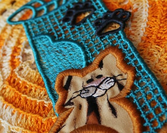 Super Cat Lace Bookmark Blue Embroidery