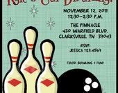 Retro Bowling Boy's Printable Invitation