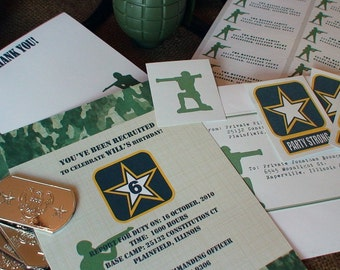 Army Invitation Printable Package Boy's DIY