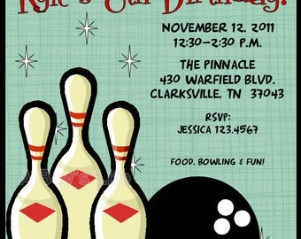 Retro Bowling Boy's Printable Party Package