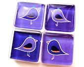 Glass tile magnets - Set of 4 Folk-art Birds in Violet