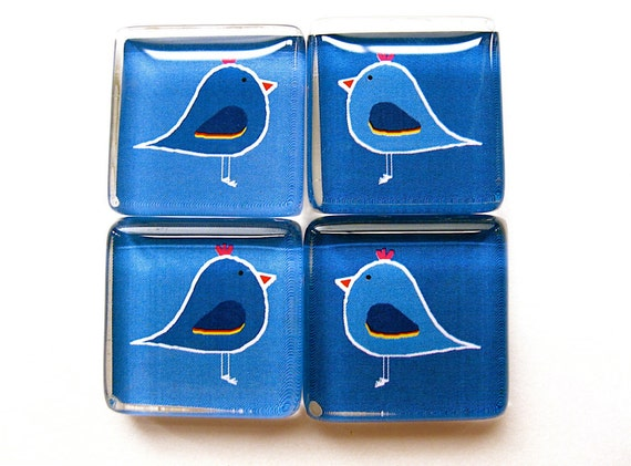Magnets - Mod Birds in Navy Blue