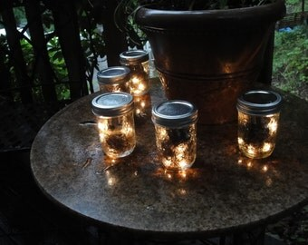 Set of 5,  8 oz. Mason Jar Firefly Lanterns-Battery Operated