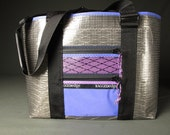 Large Sailcloth Market Tote Bag - Gray and Purple