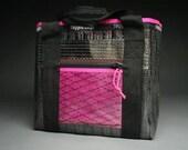 Carbon Fiber Sailcloth Tote Bag - Black and Pink - Vegan