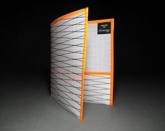 Rad Sailcloth School Folder - White Xply and Neon Orange