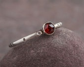 Little Joy - Cute Faceted Red Garnet and Sterling Silver Ring