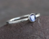 Plumeria -  Beautiful Iolite and Hammered Sterling Silver Ring Stacking